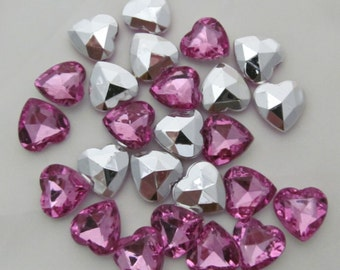 "Pink Heart Acrylic Gems .62"" 16mm non-sew glue in faceted back - 25 total"