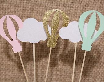 Hot Air Balloon Centerpiece Sticks - Set of 5