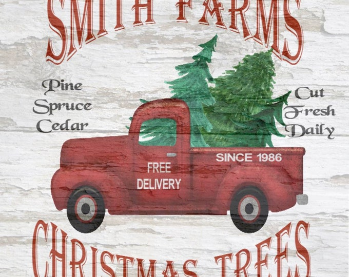Christmas Trees, Your Name Farms, Vintage Truck,  Personalized Pictures,  Simple Southern Decor, Magnetic Picture and Framing System