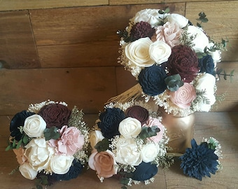 Custom Sola Navy Blush  Burgundy Wine Wedding Bridal Bouquet Sola Flowers and dried Flowers Greenery Eucalyptus  Style 35