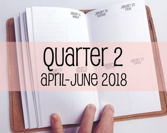 Traveler's Notebook PERSONAL Size Week on Two Pages in VERTICAL Layout {Q2   April-June 2018} #700-32