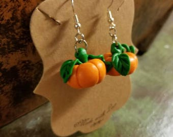 Clay Pumpkin Earrings