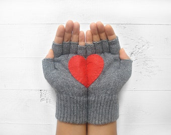 Couple Gloves, Fingerless Gloves, Mother's Day Gift, Heart Gloves, Gift For Her, Gift For Girlfriend, Birthday Gift, Love Gloves, Mittens
