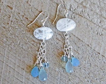 Moonstone Blue Topaz Chalcedony Long Healing Gemstone Sterling Silver Earrings