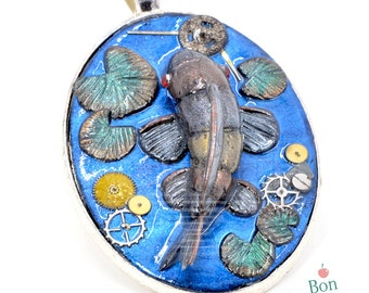 Steampunk Koi Fish Pendant, Miniature Polymer Clay Koi Fish, Koi Pond Jewelry, Steampunk Pendant, Metallic Jewelry, Koi Pond Art
