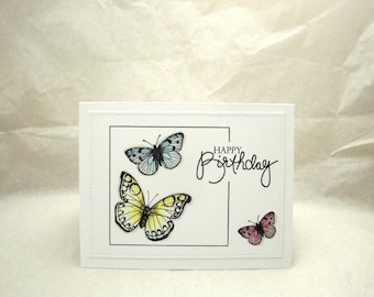 Butterfly Birthday Card, Pastel Butterfly Birthday Card, Butterflies, Blank Birthday Card, Birthday Card with Butterflies