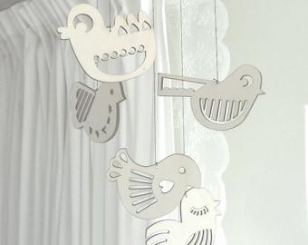 Decorative Bird Mobile Lasercut From Wood