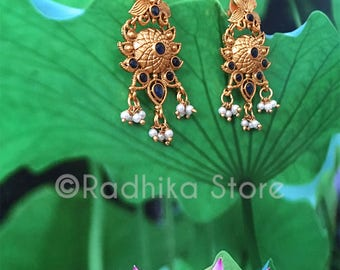 Blue Sapphire Pearl Chakra Earrings