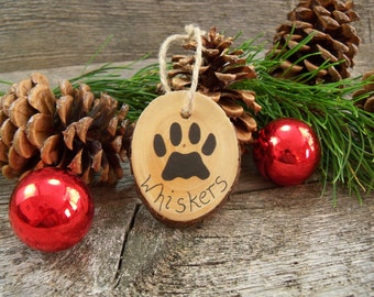 Wooden Tree Ornament with Cat Paw and Custom Name. Cat Christmas Ornament. Custom Cat Ornament. Cat Lover Gift. Cat Name Ornament