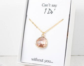 Blush Gold Necklace, Bridesmaid Peach Necklace, Champagne and Gold Necklace, Personalized Necklace, Blush Wedding, Bridesmaid Jewelry