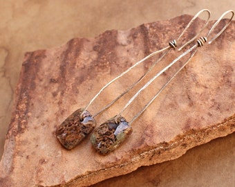 Minimalist Modern Desert Organic Earrings + Moss Agate Drops + Rustic Silver Wires + Handmade + One of a Kind + Talismans + Recycled Silver