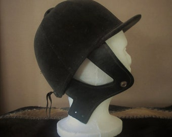 Equestrian helmet hat black velvet vintage