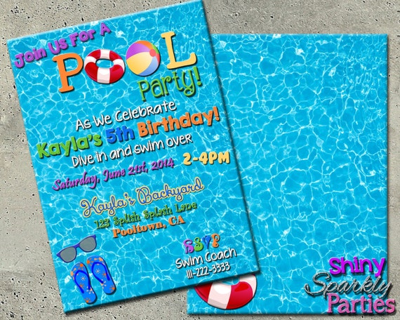POOL PARTY INVITE Pool Party Invitation Summertime Pool