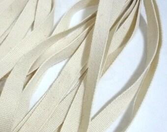 Beige Cotton Flat Tape  Plain Tape Wrapping Binding Tape Bias Tape Weave Tape 3/8 inch / 11mm width TR19