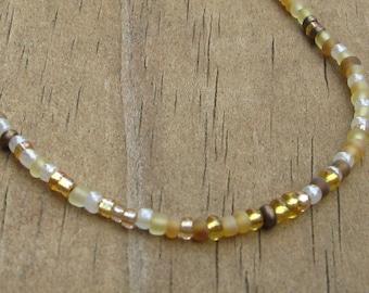 Seed Bead Medical ID Bracelet in Warm Golden Tones