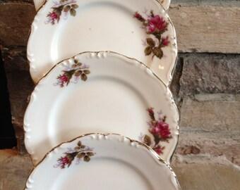 Moss Rose Plates Bread & Butter / Pink Dessert / Vintage Salad Set 4 - #4149