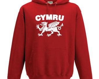 Wales Cymru Hoodie. Welsh Dragon Hoodie. Rugby World Cup Gift. Wales Supporter Hoodie. Unisex Rugby Hoodie. Welsh Hoodie.