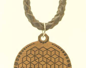 LEATHER NECKLACE with geometric cubes wood pendant