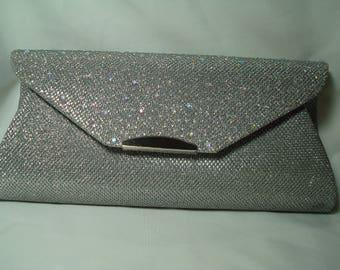Vintage New Silvery Sparkly Clutch Handbag and Shoulder Bag Combo.