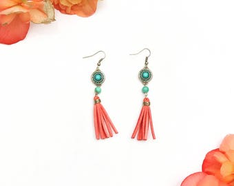 Essential Oil Diffuser Earrings - Turquoise Dream | Aromatherapy Jewelry | Tassels | Tassel Earrings