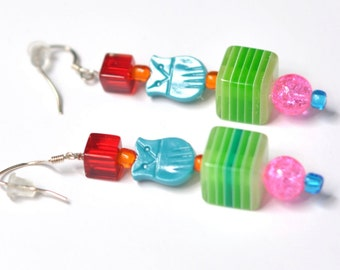 Long Beaded Colorful Hard Candy 80's Inspired Earrings with Vintage Owl Beads