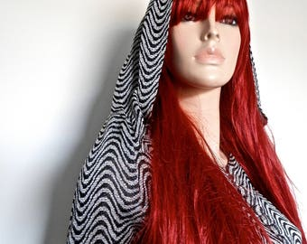Original 1960's Zig Zag Lurex Hooded Mini Dress - Size Small