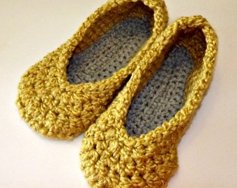 crochet women's slippers - yellow and gray chunky house shoes size 9-10