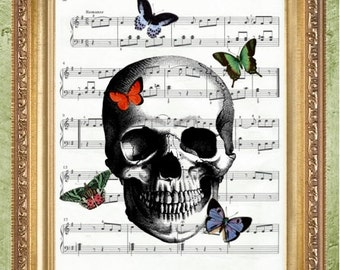 Butterfly and Skull Sheet Music Print  Dictionary Art Prints Wall Decor  Dictionary Print Dictionary Prints Book Page Art MHP Original