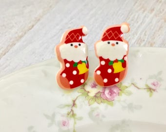 Santa Claus Peeking Out of Patchwork Stocking Novelty Stud Christmas Earrings, Surgical Steel
