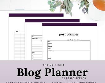 Blog Planner Blogging Planner Blog Organizer Social Media Planner Blog Printable Planner | PBLG-1100-A, INSTANT DOWNLOAD