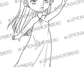 Digital Stamp Reach for the Stars Fairy, Digi Download Star Fantasy Angel, Clip Art, Girl, Scrapbooking Supplies, Coloring Page