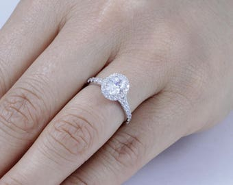 Oval Halo 925 Sterling Silver CZ Engagement Ring Wedding Band HS Half Sizes Available Size 3-14 SS18A