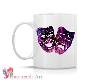 Coffee Mug, Ceramic Mug, Theater Masks Mug,  Unique Coffee Mug, 11oz or 15oz Watercolor Art Print Mug Gift, Two-Sided Print