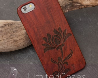 "Case for iPhone 6, 6 s with real rosewood-wood - Edition, laser-engraved ""Stilblüte"""