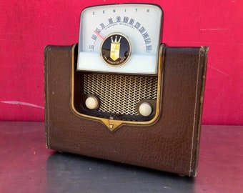 Vintage Portable RCA The Royalty of Radio Bakelite and Leather for Restoration or Home Decor