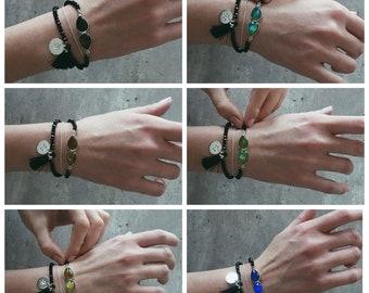 Mood ring stone bracelet / wristband with mood stone