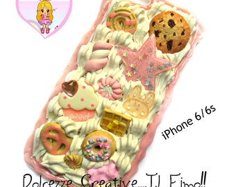 Case - Cover - case - iPhone 6 / 6s cream, cookies, chocolate, strawberry, Bunny waffles, Marshmallow, cupcake