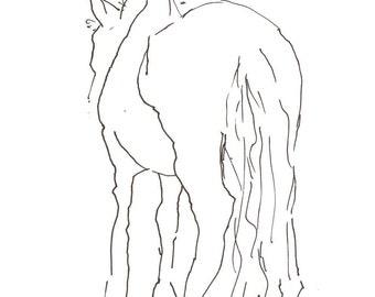 shy horse 8X10 art print, gesture line drawing