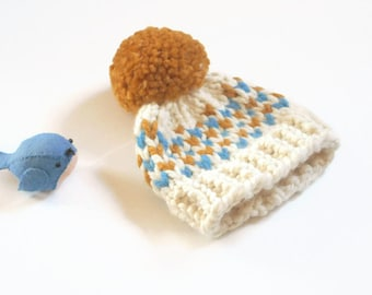 Knit Baby Hat/Chunky Knit Baby Hat/Infant Hat/ Hand Knit Baby Hat/Baby Shower Gift/Newborn Beanie/ Baby Beanie/Fair Isle Baby Hat/3-4 Mos.