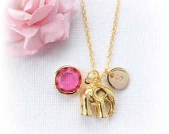 Gold Elephant Necklace, Gold elephant, Birthstone necklace, elephant jewellery, initial elephant necklace, personalised necklace, handmade