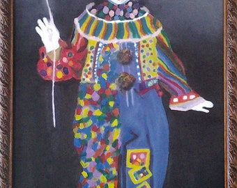 Mexican oil original painting of a circus clown