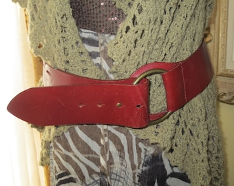 Woman's Vintage Wine Leather Hipster Belt, Size M ,