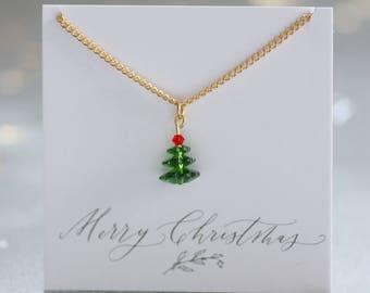 Swarovski crystal christmas tree necklace, christmas tree necklace, christmas jewellery, festive necklace for her, christmas gift ideas