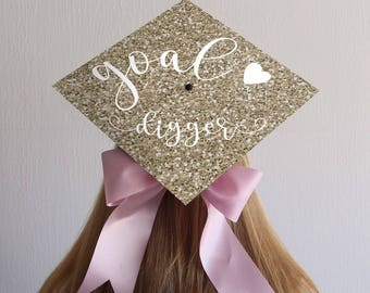 Graduation Cap Decal | DOWNLOAD ONLY | Goal Digger | Gold Background