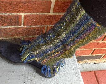 bohemian leg warmers / artist's design, fringe/ boho boot toppers or knee warmers/ fiber art legwarmers