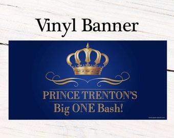 Little Birthday Prince Banner ~ Personalized Happy Birthday Crown Birthday, Royal Baby Shower Banner, Printed Vinyl Banner