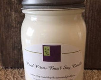 Cool Citrus Basil Handmade Soy Candle