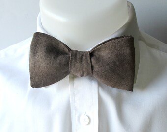 Bowtie - Chocolate brown linen bowtie -  classic self tie / freestyle bowtie for men