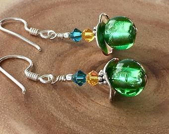 Vintage Glass & Handcrafted Silver Earrings