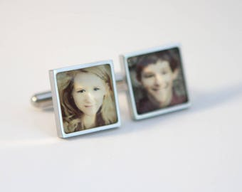 Square cuff links, STAINLESS STEEL cuff links, Custom Logo cuff links, Custom Photo Cuff links,Custom image, Custom wedding logo